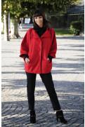 Simone Marulli - eleganter Poncho Mantel aus Schurwolle in rot - MN002