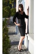 Simone Marulli - Designer-Kleid langarm in schwarz - AB015