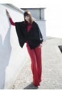Simone Marulli - eleganter Poncho Mantel aus Schurwolle in schwarz - MN002